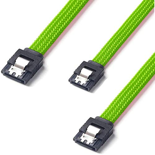 QIVYNSRY 3PACK SATA Cable III 3 Pack 6Gbps Straight HDD SDD Data Cable with Locking Latch 18 Inch for SATA HDD, SSD, CD Driver, CD Writer, Green