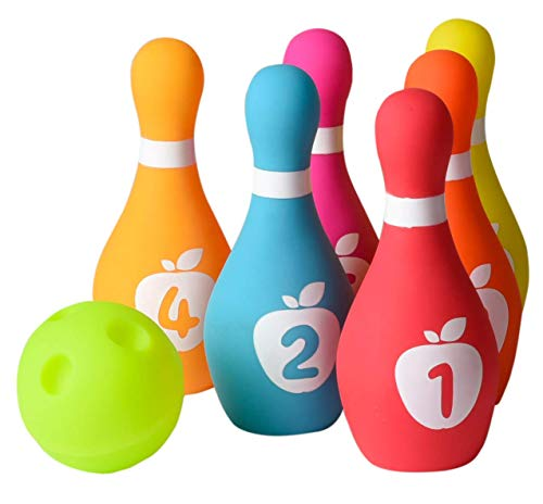 Playkidz Soft Baby Bowling Set 7-Piece Soft Bowling Game for Boys & Girls w/ Colorful Numbered Pins & Ball Safe, Great Toy for Indoor or Outdoor Birthday, Toddler & More Ages 18M+