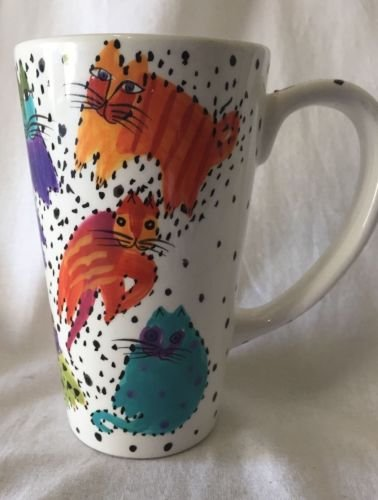 1997 Laurel Burch Colorful Cat Pattern Tall 6 1/4' Cappuccino Latte Coffee Mug