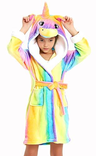 Kids Soft Bathrobe Comfy Unicorn Gift Flannel Robe Unisex Sleepwear (Rainbow Unicorn, 6-8 Years)
