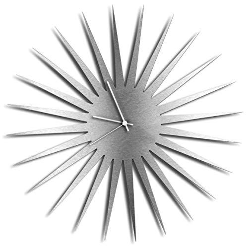Modern Wall Clock 'MCM Starburst Clock Silver White' Mid-Century Home/Kitchen Decor - Minimalist, Silent Sweep Hands