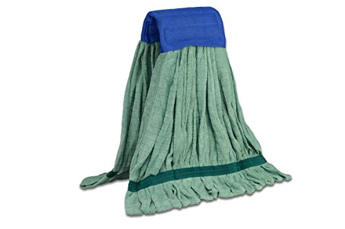 Large Microfiber Tube Mop (18 oz.) | Commercial Wet Mop Head Replacement | Dries 3X Faster Than Cotton String Mops | Machine Washable (Green)
