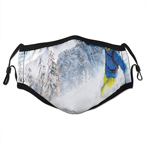 Comfortable Windproof mask,Skier Skiing Downhill in High Mountains Extreme Winter Sports Hobbies Activity,Printed Facial Decorations for Adult