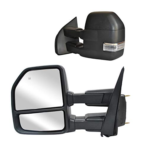 WLLW Towing Mirrors fit for Ford F150 Pickup Truck 2015 2016 2017 2018 2019 2020 Power, Heated, Turn Signal, Temperature Sensor, Puddle Lights, Spot Auxiliary Lamp, 22-Pin Plug