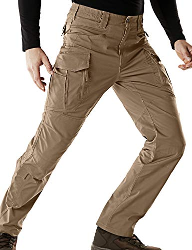 CQR Men's Flex Stretch Tactical Pants, Water Repellent Ripstop Cargo Pants, Lightweight EDC Outdoor Hiking Work Pants, Flexy Cargo Zip(tfp521) - Coyote, 34W x 34L