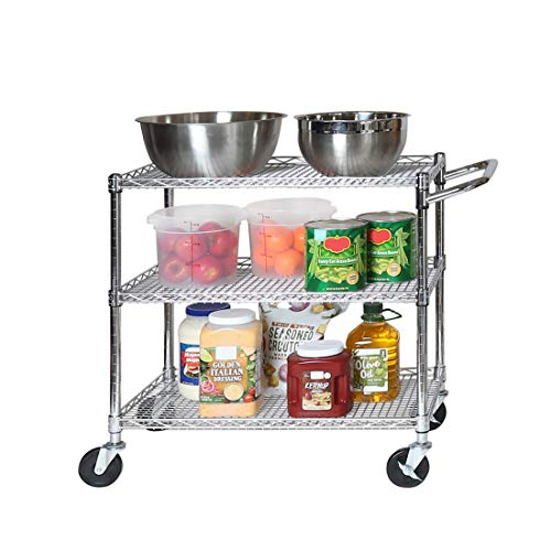 Seville Classics 3-Tier UltraDurable Commerical-Grade Heavy-Duty NSF-Certified Service Utility Storage Cart, 34' W, Chrome