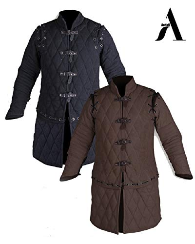 AnNafi Thick Padded Medieval Gambeson Armor | Theater Costumes Full Sleeves Dress SCA| Cotton Fabric Aketon Jacket | Arming Doublet |(X-Large, Brown)