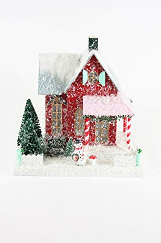 Cody Foster Red Christmas Village House with Snowman Man and Candy Cane