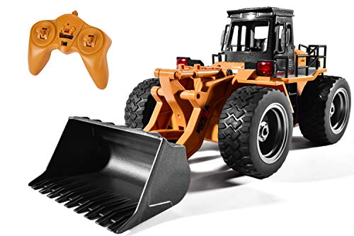 Cradream Remote Control Bulldozer Toy 1:16 Hobby RC Trucks Caterpillar Aluminum Alloy Rc Front Loader 4WD for 6-15 Years Old Boys Kids Gift