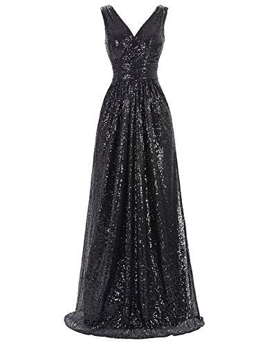 Women's Sequins V-Neck Ball Evening Prom Gown Bridesmaid Dress Bodycon Size US8 KK199-4