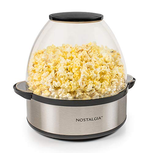 Nostalgia Stainless Steel 6-Quart Stirring Speed Popper with Quick-Heat Technology 24 Popcorn, with Kernel Measuring Cup, Makes Roasted Nuts, Perfect for Birthday Parties, Movie Nights