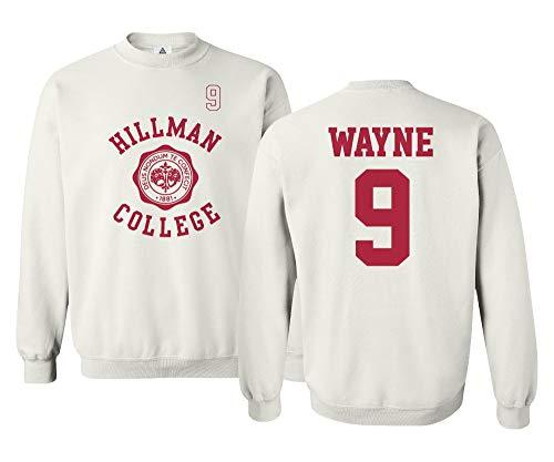 Sheki Apparel Hillman College Theater Wayne #9 Basketball Unisex Youth Sweatshirt Crewneck Sweater (White, Youth - X-Large)
