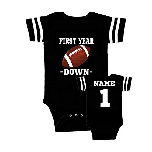 Front back baby boys girls Personalized custom football theme 1st birthday outfit bodysuit, Add name, Assorted colors baby bodysuit Baby's 1st First year down