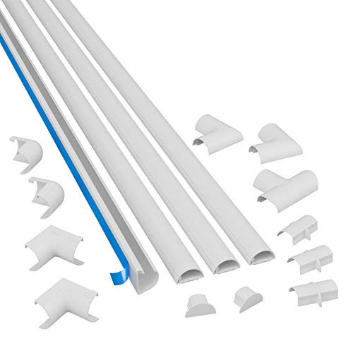 D-Line 13.12ft White Cord Cover Kit, Half Round Cable Raceway, Paintable Self-Adhesive Cord Hider, TV Wire Hider, Cable Management - 4X 1.18 (W) x 0.59' (H) x 39' Lengths & 12 Accessories