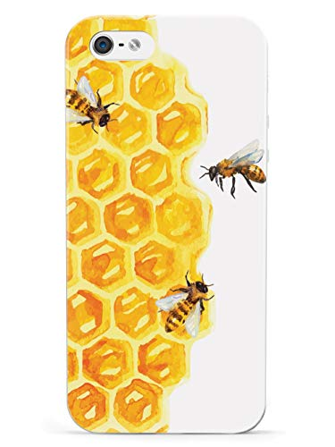 Inspired Cases - 3D Textured iPhone 5/5s/5SE Case - Rubber Bumper Cover - Protective Phone Case for Apple iPhone 5/5s/5SE - Watercolor Bees on Honeycomb - White