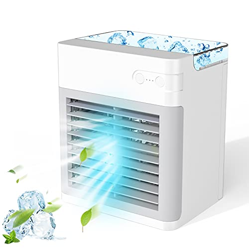 Portable Air Conditioner, 2000 mAh Evaporative Personal Air Cooler Fan with 3 Speeds 7 Colors Night Light Rechargeable USB AC Mini Air Conditioner Desktop Fan for Small Room Office Camping Car Bedroom
