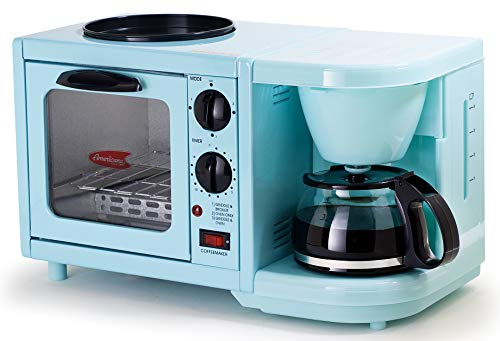 Elite Gourmet Retro Nostalgia 3-in-1 Breakfast Maker Station 4 Cup Coffeemaker, Toaster Oven with Timer, Griddle, Aqua