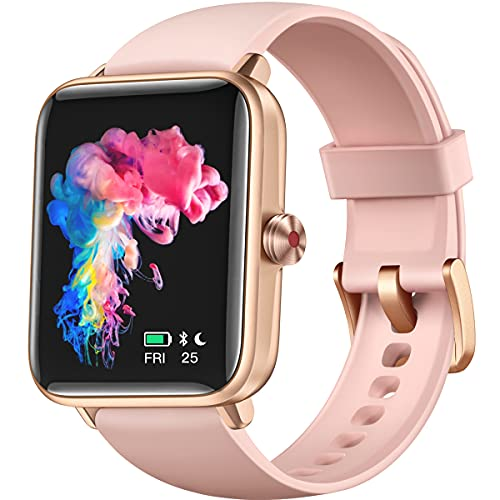 Dirrelo Smart Watches for Women, Fitness Smart Watch for Android Phones iPhone Compatible, 1.55' Screen Fitness Tracker with Heart Rate & Sleep Monitor & Blood Oxygen Saturation, 5ATM Waterproof Pink