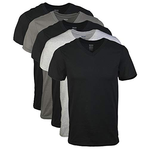 Gildan Men's V-Neck T-Shirts Multipack, Assorted (5 Pack), XX-Large