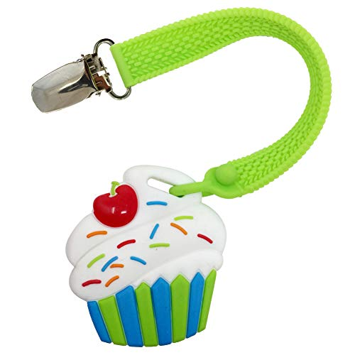 Silli Chews Baby Teething Toys Little Cupcake Silicone Teether and Clip for Babies - Best Natural Chew Toys Infant Pain Relief Teether for Boys or Girls