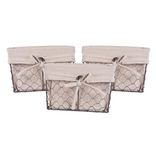 DII Farmhouse Chicken Wire Storage Baskets with Liner, Natural, Small S/3, 3 Piece