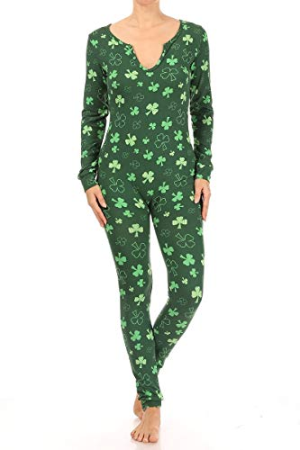 ShoSho Womens Winter Fleece Lined One Piece Pajamas Jumpsuits Onesie Cute Christmas Holiday Prints Thermal PJs Fair Isle Print Red/White/Green Large
