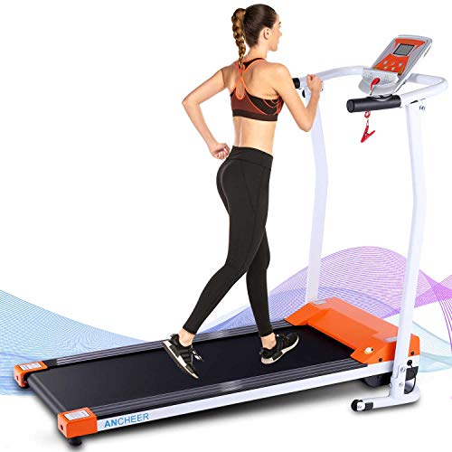ANCHEER Folding Treadmill, 12 Preset Programs, Treadmills with LCD Monitor Motorized and Pulse Grip, Indoor Walking Jogging Running Exercise Machine Trainer for Home Office Workout (Orange)