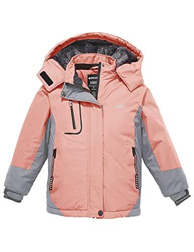 Wantdo Girl's Mountain Ski Jacket Waterproof Snow Coat Raincoats Winter Outwear Pink 10/12