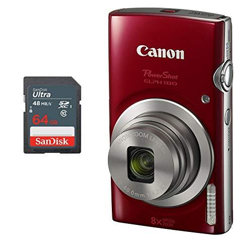 Canon PowerShot ELPH 180 Digital Camera + 64 GB Memory Card (Red)