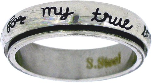 Solid Rock Jewelry Stainless Steel I Will Wait for My True Love Cursive Font Christian Purity Spin Ring Style 364-SIZE 5