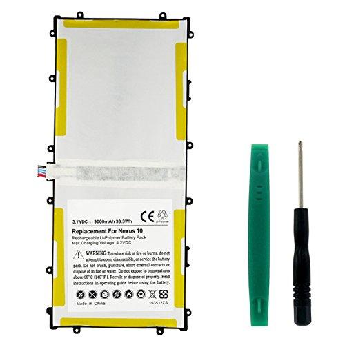 Synergy Digital Tablet Battery, Works with Samsung NEXUS 10 32GB Tablet, (Li-Pol, 3.7V, 9000 mAh) Ultra Hi-Capacity Battery