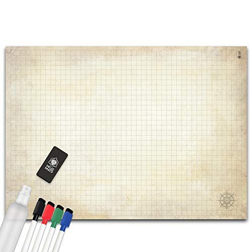 Battle Grid Game Mat - Ultra Durable Polymer Material - Role-Playing Grid Map - Reusable Tabletop Squares - Dungeons RPG Dragons Dry Erase Vinyl - Perfect Set for Starters and Masters - 34.5 x 48