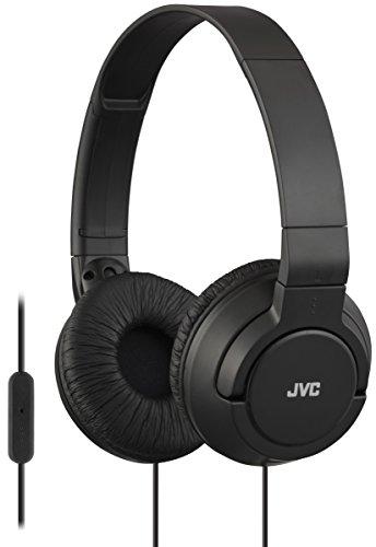JVC Lightweight Flat Foldable On Ear Colorful Lightweight Foldable Headband with Mic, Black (HASR185B)