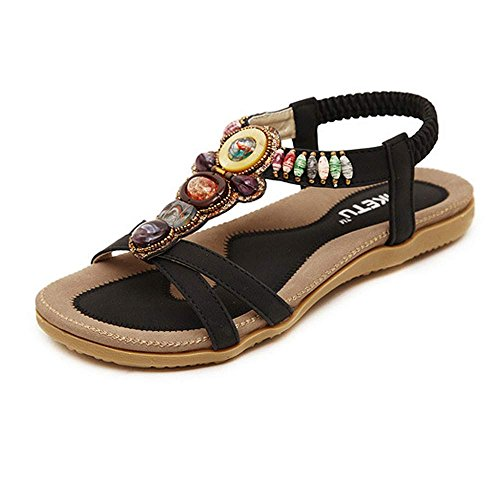 Nevera Ladies Flip-Flops Bohemian Elastic Strappy Thong Ankle Strap Sandals for Women (X-Black, US:8)