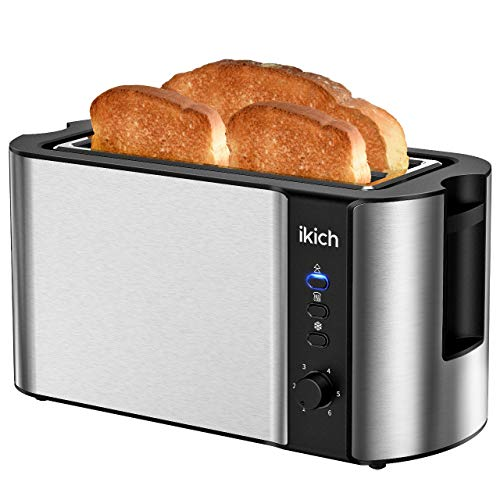 IKICH Toaster 4 Slice, Toaster 2 Long Slot Stainless Steel, Warming Rack, 6 Browning Settings, Defrost/Reheat/Cancel, Removable Crumb Tray, 1300W
