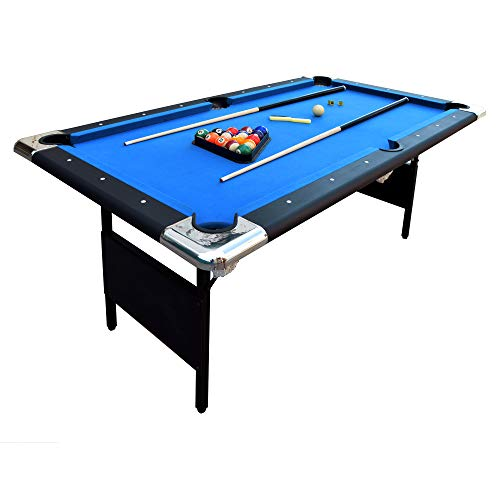 Hathaway Fairmont Portable 6-Ft Pool Table for Families with Easy Folding for Storage, Includes Balls, Cues, Chalk (Blue)