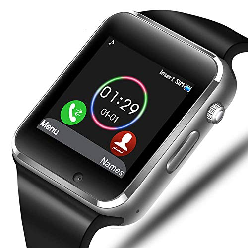 Smart Watch - Sazooy Bluetooth Smart Watch Support Make/Answer Phones Send/Get Messages Compatible Android iOS Phones with Camera Pedometer SIM SD Card Slot for Men Women (Silver)