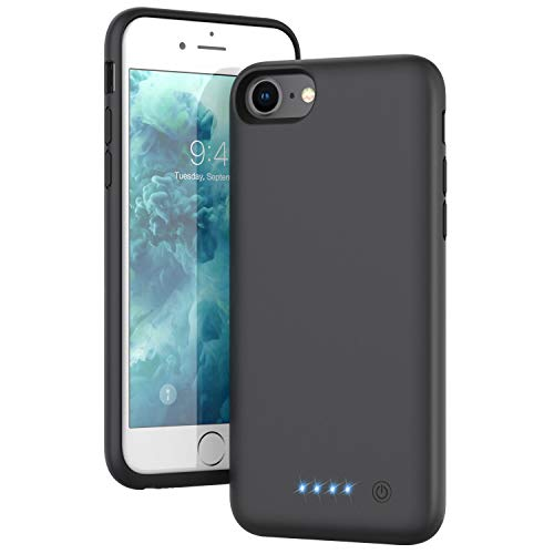 Battery Case for iPhone 6/6s/7/8/se(2020), Upgraded[6000mAh] Portable Protective Charging Case Extended Battery Pack Rechargeable Backup Power Charger Case,Compatible iPhone 6/6s/7/8 (4.7') - Black