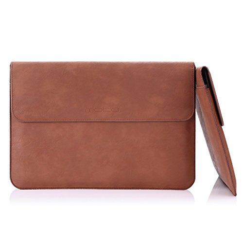 MoKo 13-13.3 Inch Laptop Sleeve Case Compatible with MacBook Air 13-inch Retina, MacBook Pro 13', Dell XPS 13, Samsung Notebook 13.3' PU Leather Envelope Case with Document Pocket, Brown