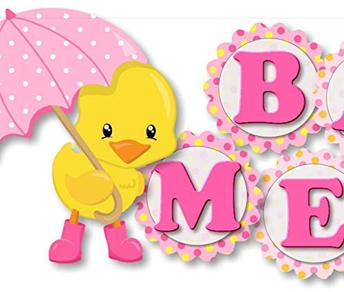 Personalized Pink Rubber Duck Baby Shower or Birthday Party Banner for Girl - Optional Decorations Cake Topper, Centerpiece, Sign, Favor Tags or Stickers, Thank You Card - Handmade in USA - BCPCustom