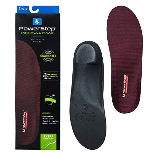 Powerstep Pinnacle Maxx Orthotic Insole Shoe Inserts, Workout Gear for Home Workou, Maroon, Men's 8-8.5, Women's 10-10.5