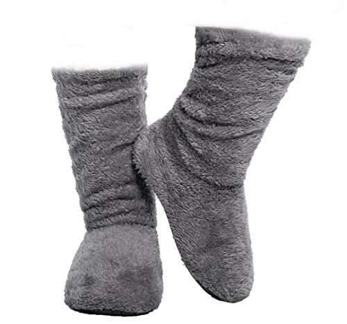 FRALOSHA Women's Slipper Sock Coral Velvet Indoor Spring-Autumn Super Soft Warm Cozy Fuzzy Lined Booties Slippers (27cm) Grey