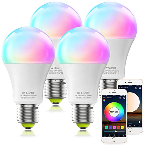 Alexa Compatible Smart Light Bulb, A19 RGBCW Multicolor & Dimmable White UL Certified LED WiFi Bulb, No Hub Required, MagicLight Color Changing Smart Bulb Works with Alexa Google Home (4Pack)