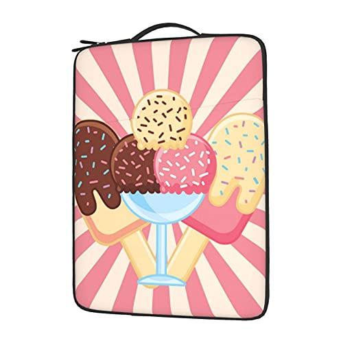 Sweets Candy Ice Cream With Pink Sunburst Stripes 14-15.6in Computer Laptop Sleeve Bag Case for Notebook Ebook Student School,Hidden Handles Padded Laptop Tote Handbag Messenger Bag,Shock Resistant