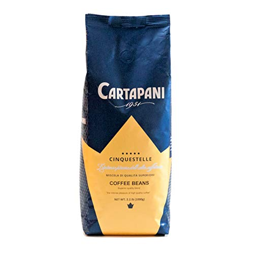 Caffe' Cartapani Cinquestelle Whole Bean Coffee, Premium Quality Italian Espresso Blend , Medium Roast, 2.2-Pound Bag, Roasted in Italy