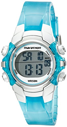 Marathon by Timex Unisex T5K817 Digital Mid-Size Light Blue/Silver-Tone Resin Strap Watch