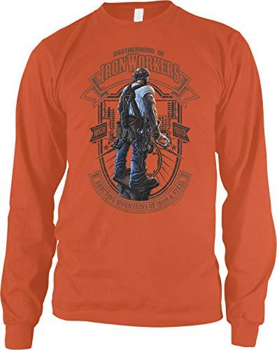 Amdesco Men's Brotherhood of Iron Workers Long Sleeve Shirt, Orange XL
