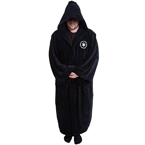 Old Glory Star Wars Galactic Empire Black Cotton Hooded Bathrobe