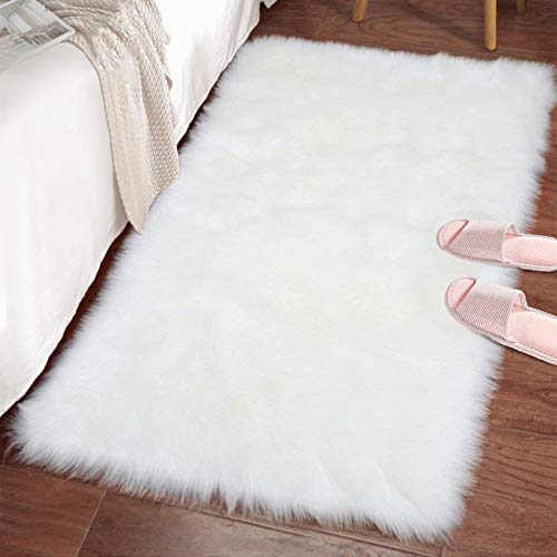 LOCHAS Ultra Soft Fluffy Rugs Faux Fur Sheepskin Area Rug for Bedroom Bedside Living Room Carpet Nursery Washable Floor Mat, 2x3 Feet White