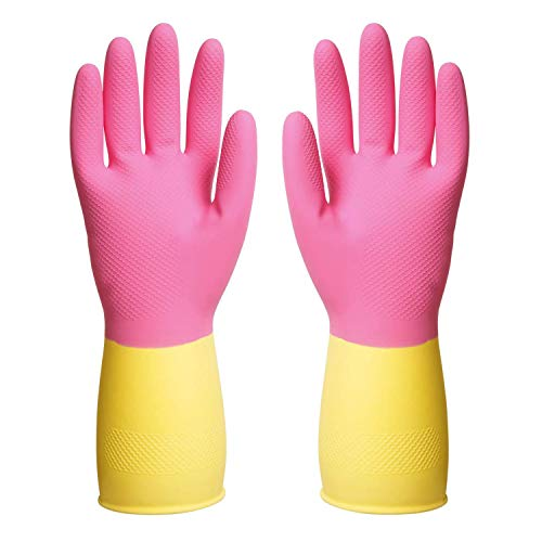 ThxToms Reusable Dishwashing Latex Gloves, Pink Yellow Cleaning Gloves for Kitchen and Housework, Medium, 3 Pairs
